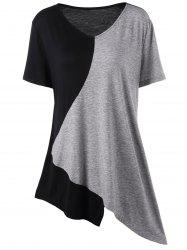 Asymmetrical Color Block Plus Size Long T-Shirt - BLACK AND GREY