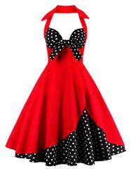 Corset Halter Vintage Floral Polka Dot Tea Dress - RED
