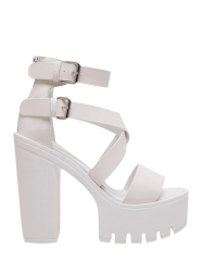 Double Buckle Strap Zipper Sandals