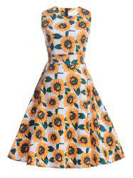 Sunflower Print Self-Tie Vintage Tea Dress - WHITE 2XL