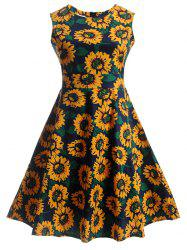 Sunflower Print Self-Tie Vintage Tea Dress -