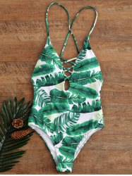 Palm Print Backless Padded One Piece Criss Cross Swimsuit - GREEN