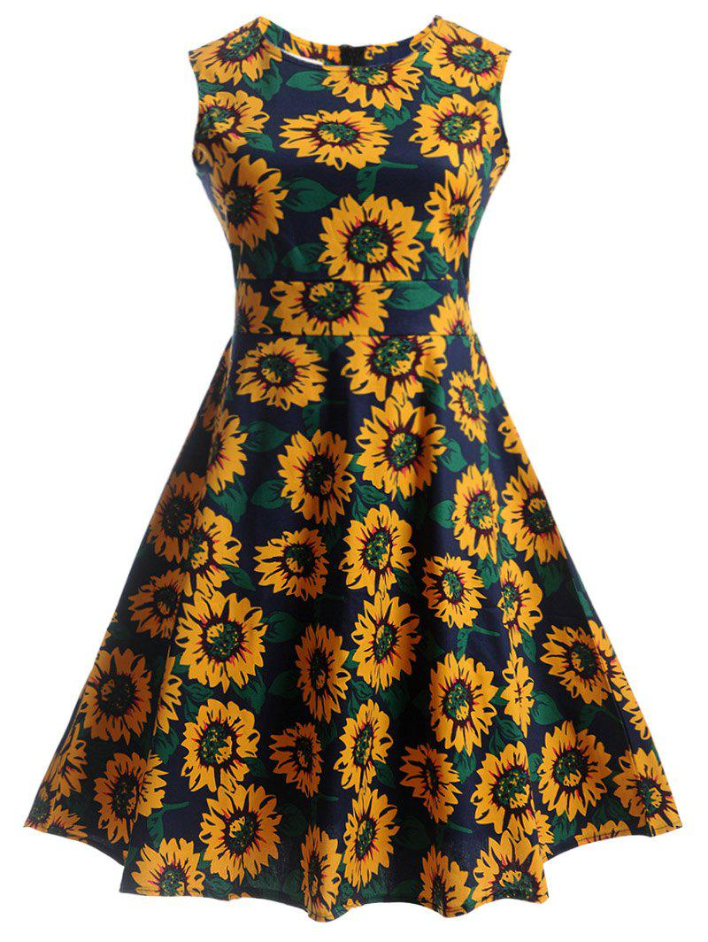 Latest Sunflower Print Self-Tie Vintage Tea Dress
