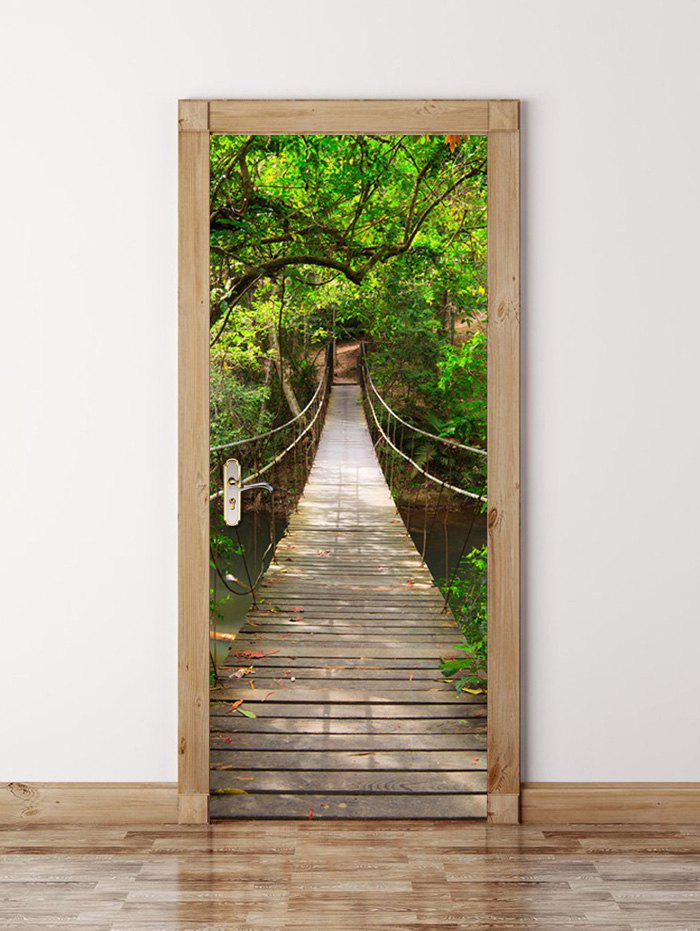 3D Wooden Bridge in Deep Forest Waterproof Door Wall StickerHOME<br><br>Size: 77*200CM; Color: GREEN; Wall Sticker Type: 3D Wall Stickers; Functions: Decorative Wall Stickers; Theme: Landscape; Material: PVC; Feature: Removable; Weight: 0.8100kg; Package Contents: 1 x Door Sticker;
