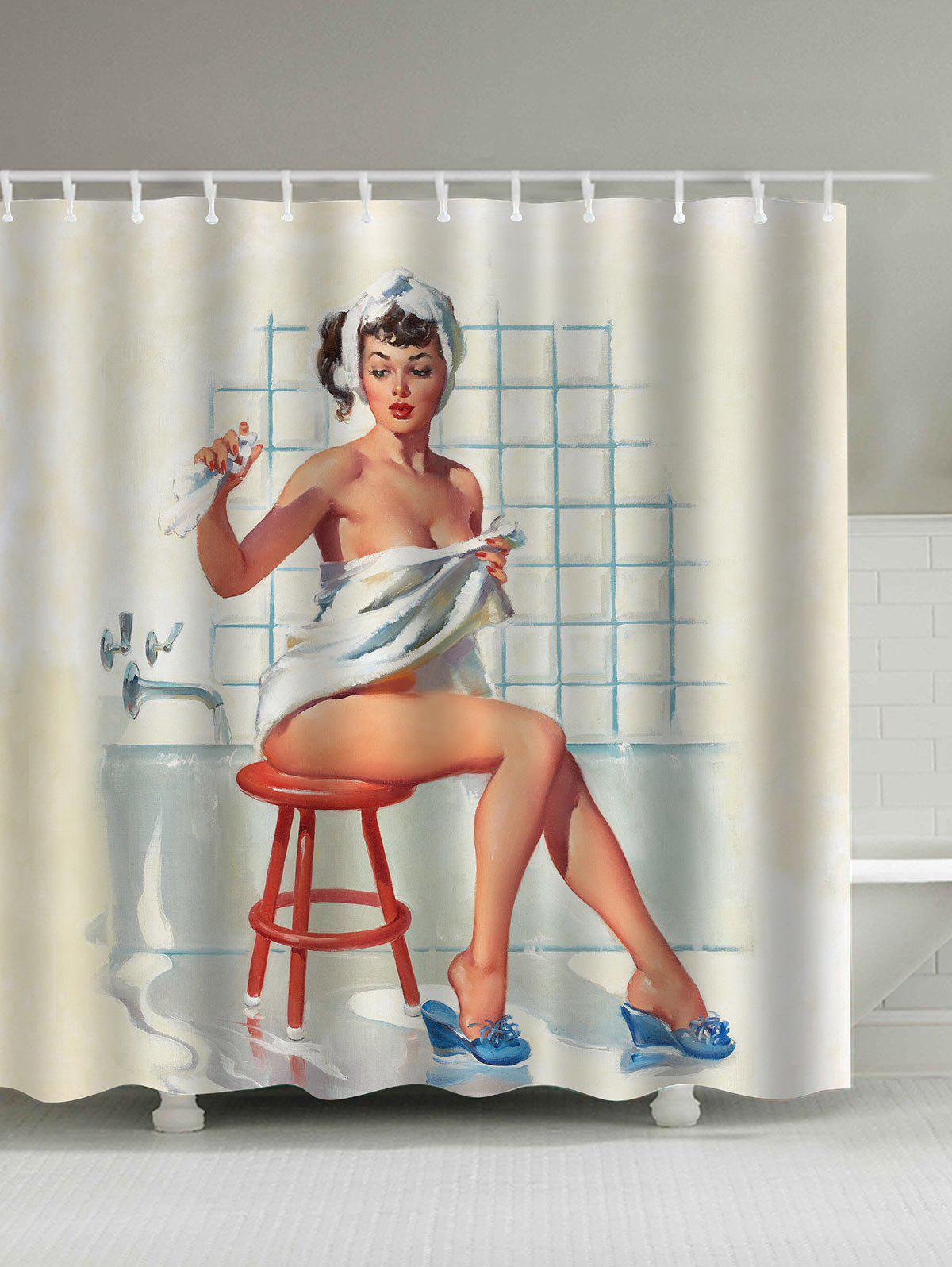 Vintage Shower Girl Print Waterproof Shower CurtainHOME<br><br>Size: 180*180CM; Color: COLORMIX; Products Type: Shower Curtains; Materials: Polyester; Style: Vintage; Number of Hook Holes: W59inch*L71inch: 10;  W71inch*L71inch: 12;  W71inch*L79inch: 12.; Weight: 0.5400kg; Package Contents: 1 x Shower Curtain 12 x Hooks;