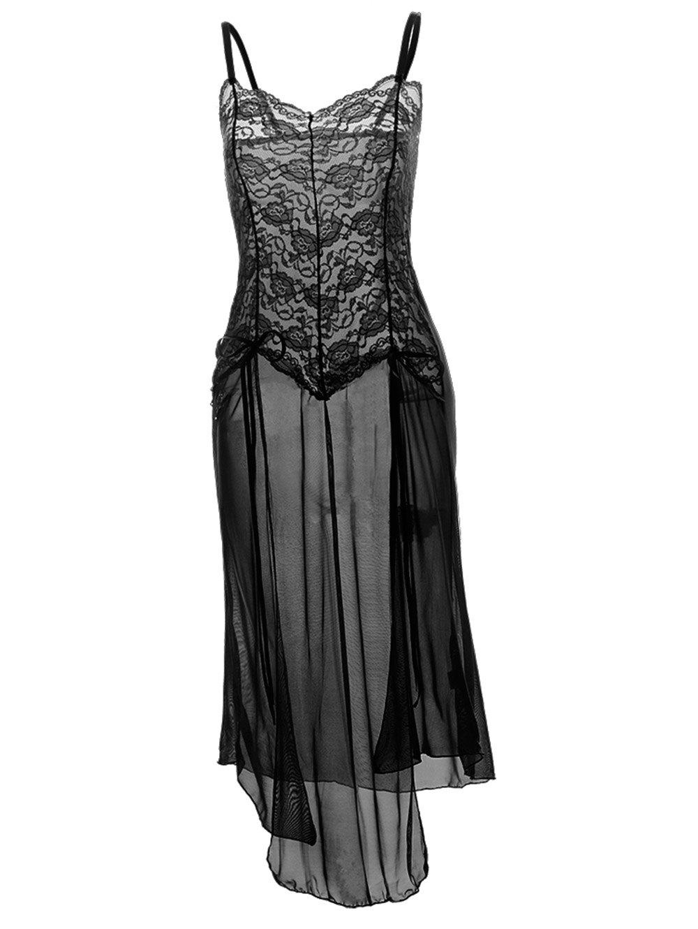 Plus Size Maxi Lace Top Sheer Slip DressWOMEN<br><br>Size: 6XL; Color: BLACK; Material: Polyester; Pattern Type: Solid; Embellishment: Bowknot; Weight: 0.2000kg; Package Contents: 1 x Dress  1 x G-String;