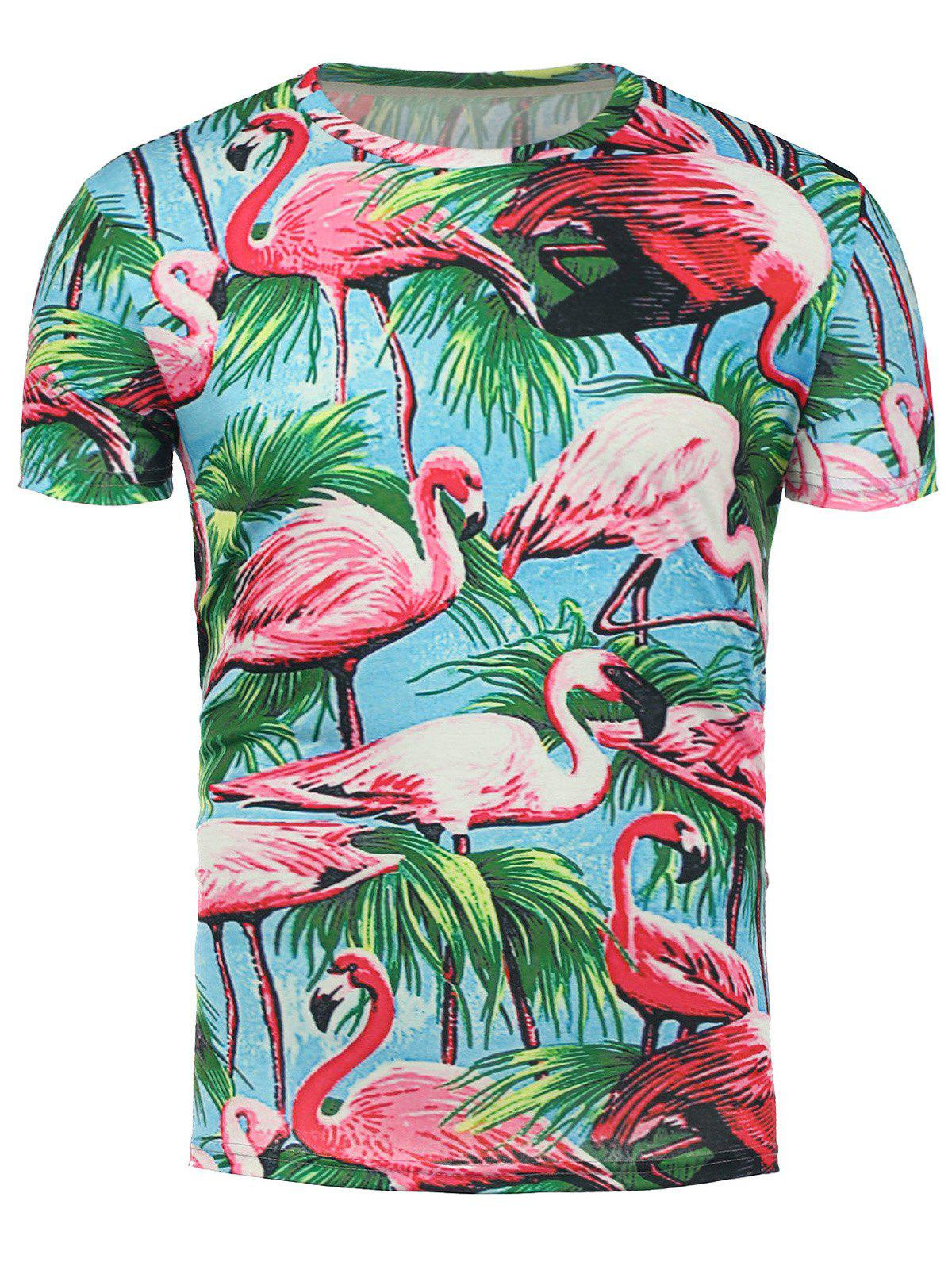 Shops 3D Flamingo Floral Print Hawaiian T-Shirt