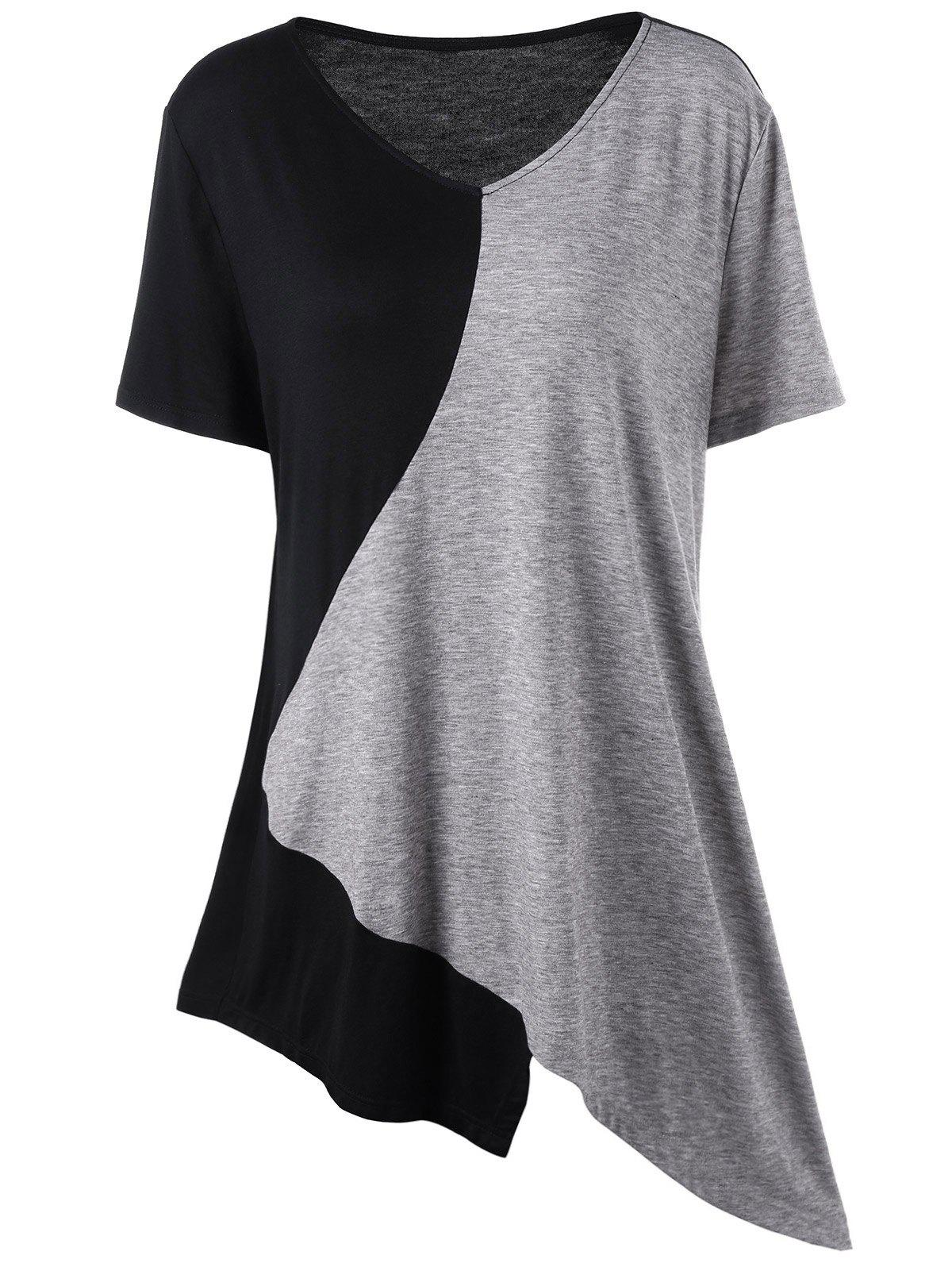 Asymmetrical Color Block Plus Size Long T-ShirtWOMEN<br><br>Size: 5XL; Color: BLACK AND GREY; Material: Cotton,Spandex; Shirt Length: Long; Sleeve Length: Short; Collar: V-Neck; Style: Casual; Season: Summer; Pattern Type: Others; Weight: 0.2000kg; Package Contents: 1 x T-Shirt;