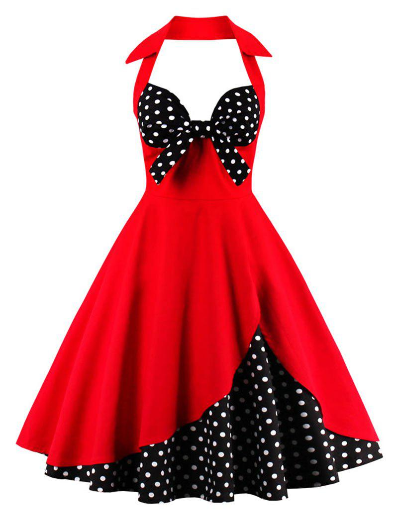Buy Halter A Line Vintage Spotted Dress