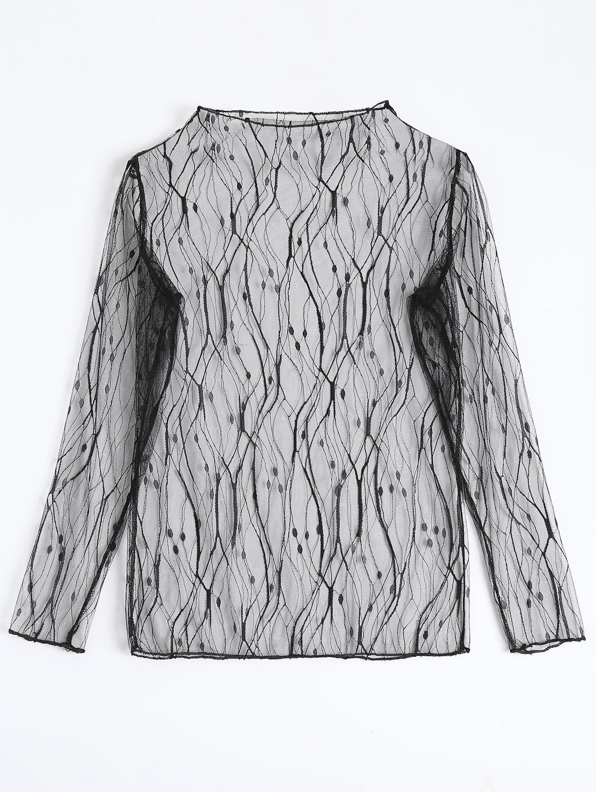 Sale Lace Fishnet Sheer Long Sleeve Top
