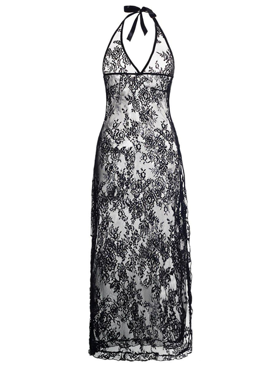 Plus Size Halter Neck Lace Maxi Backless Sheer DressWOMEN<br><br>Size: 6XL; Color: BLACK; Material: Polyester; Pattern Type: Solid; Embellishment: None; Weight: 0.1600kg; Package Contents: 1 x Dress  1 x String;