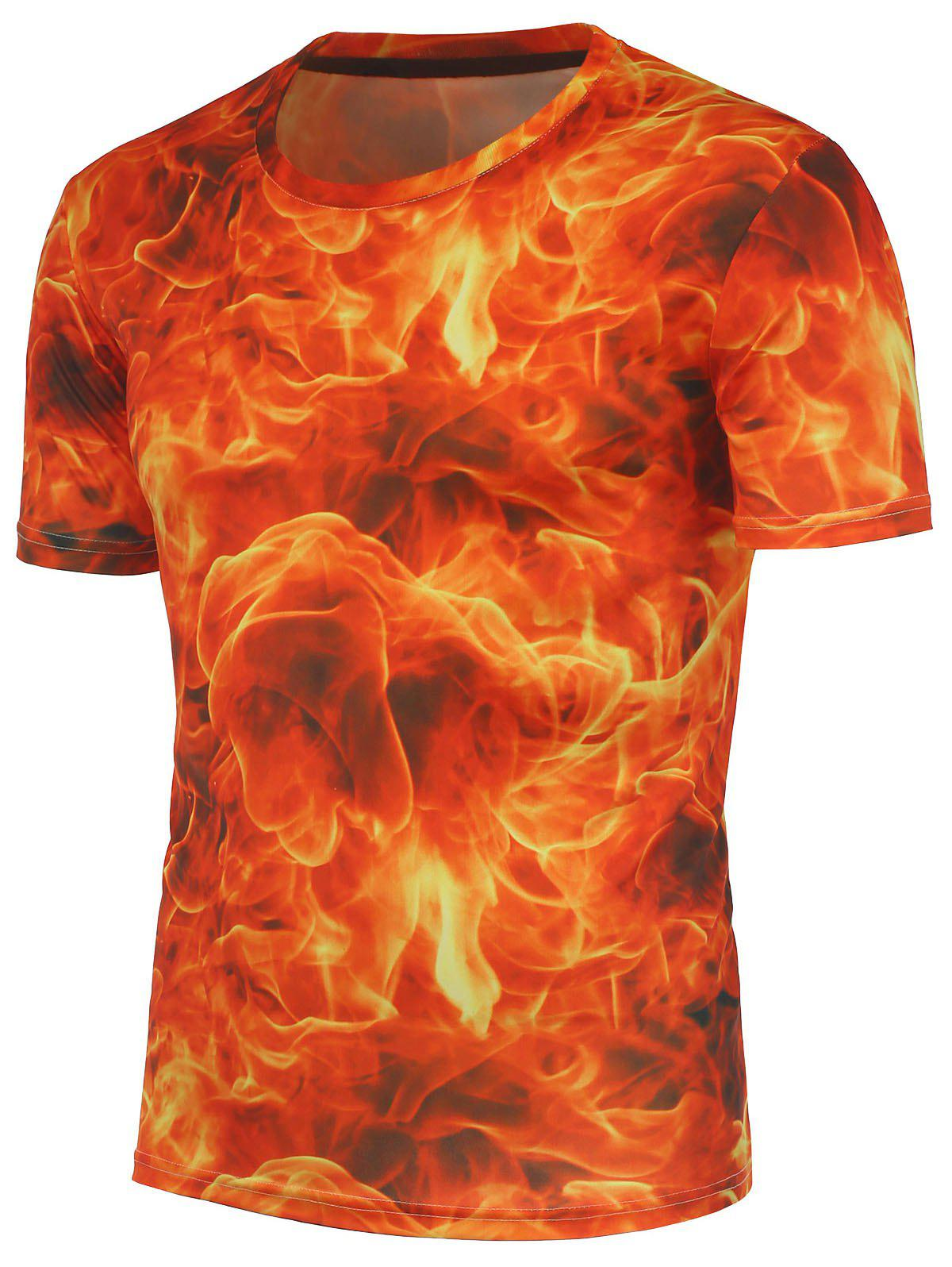 Red 3d fire pattern crew neck tee for On fire brand t shirts