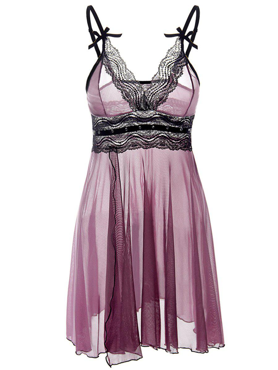 Outfit Lace Trim See Through Plus Size Babydoll