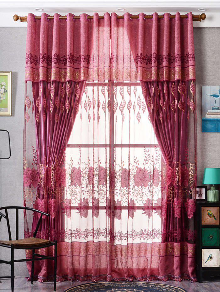 Unique Window Screen Flower Sheer Fabric Tulle with Pendant Decor
