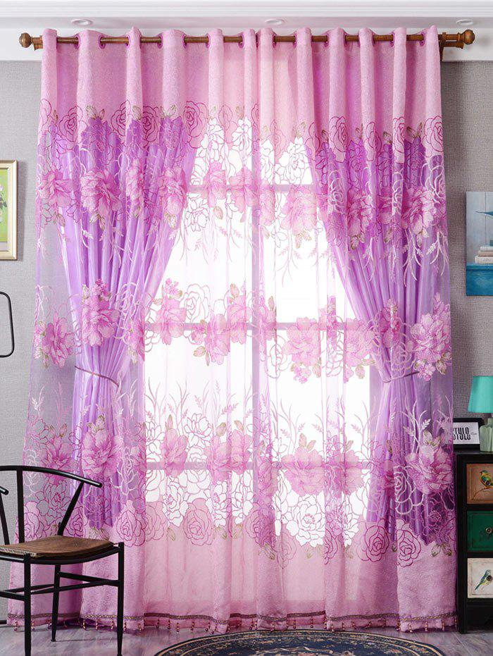Unique Europe Flower Embroidered Sheer Window Screen Tulle