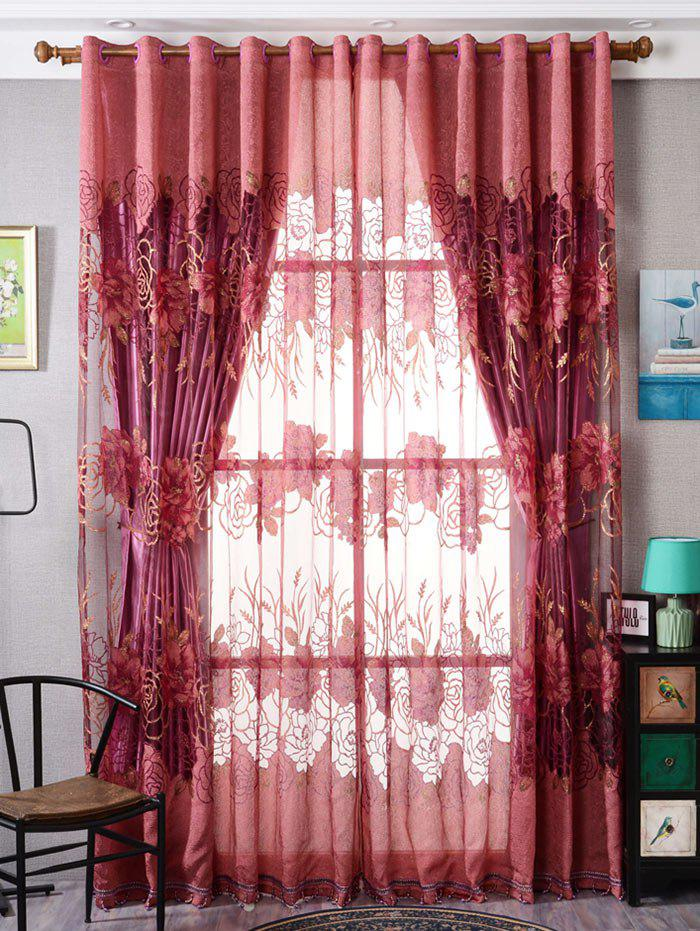 Shops Europe Flower Embroidered Sheer Window Screen Tulle