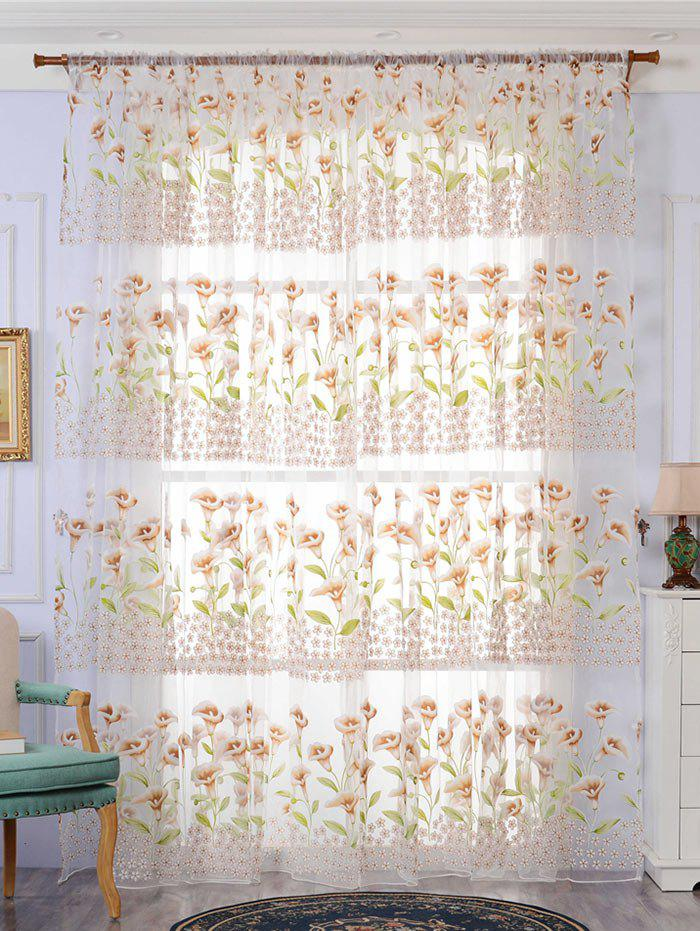 Trendy Calla Lily Embroidery Sheer Window Tulle For Bedroom