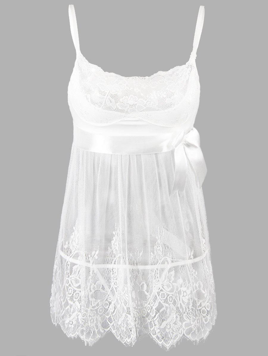 Sheer Lace Plus Size Slip Badydoll DressWOMEN<br><br>Size: 5XL; Color: WHITE; Material: Polyester; Pattern Type: Solid; Embellishment: Bowknot; Weight: 0.1600kg; Package Contents: 1 x Babydoll  1 x G-String;