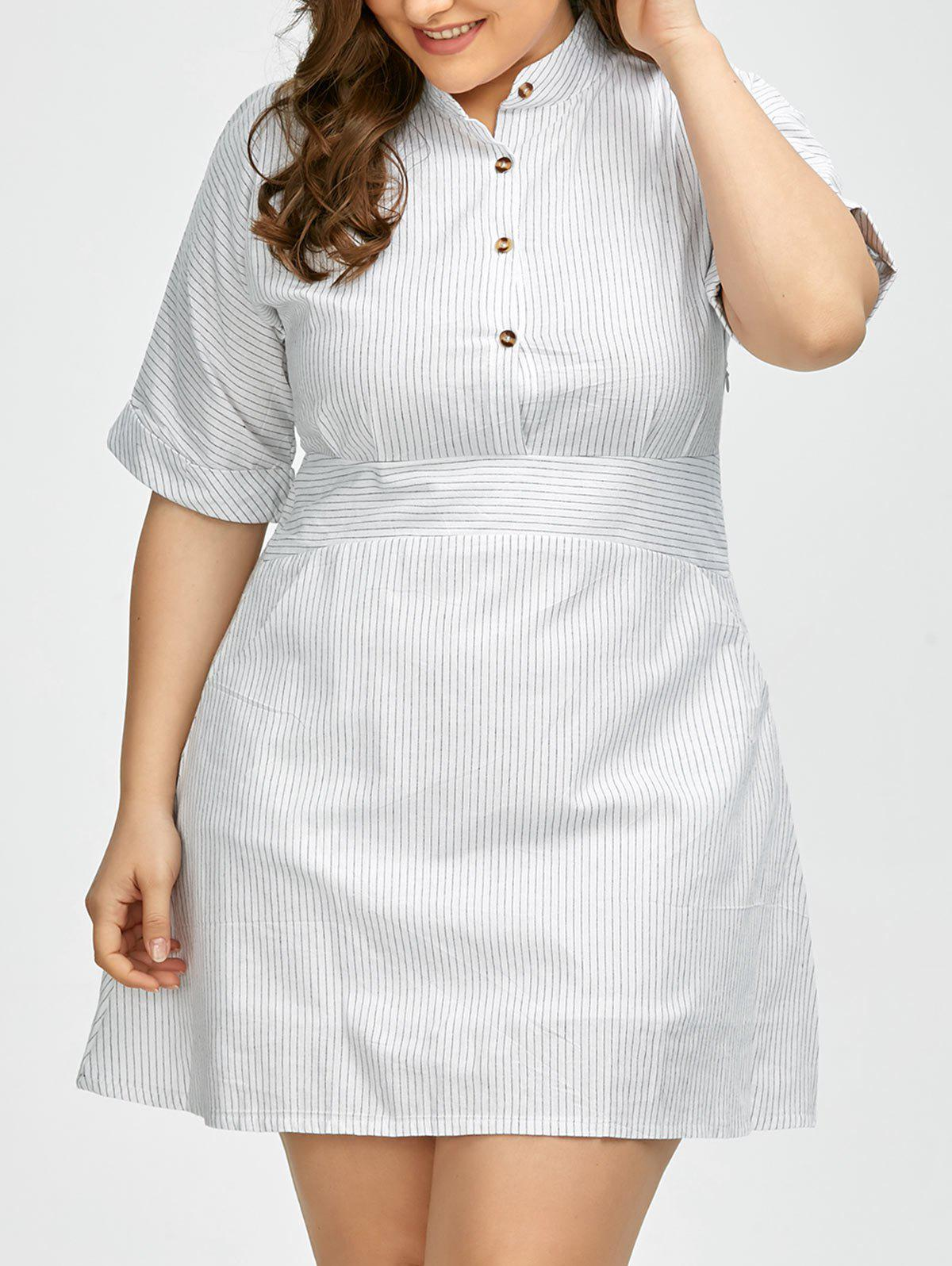 White 3xl plus size half button pinstripe shirt dress for Size 15 dress shirt
