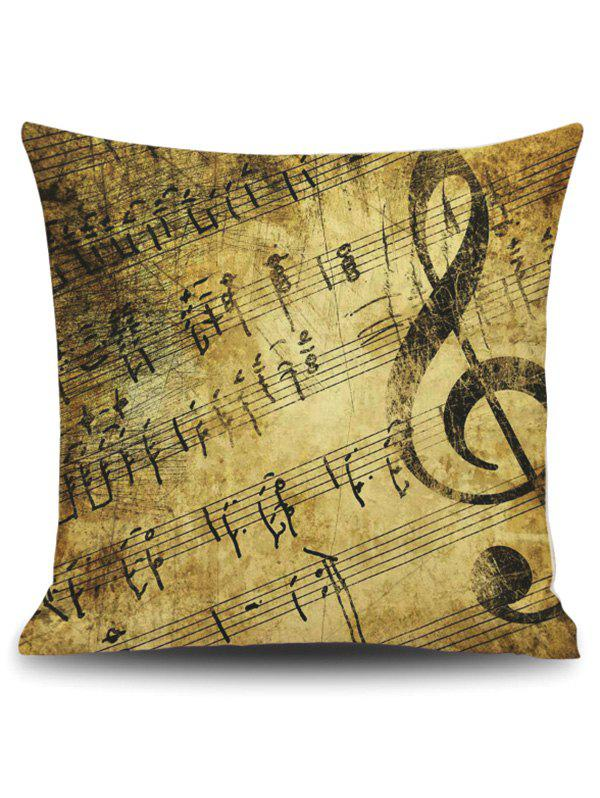 Vintage Music Score Print Linen Square PillowcaseHOME<br><br>Size: 45*45CM; Color: GINGER; Material: Polyester / Cotton; Fabric Type: Linen; Pattern: Printed; Style: Retro; Shape: Square; Weight: 0.1200kg; Package Contents: 1 x Pillowcase;