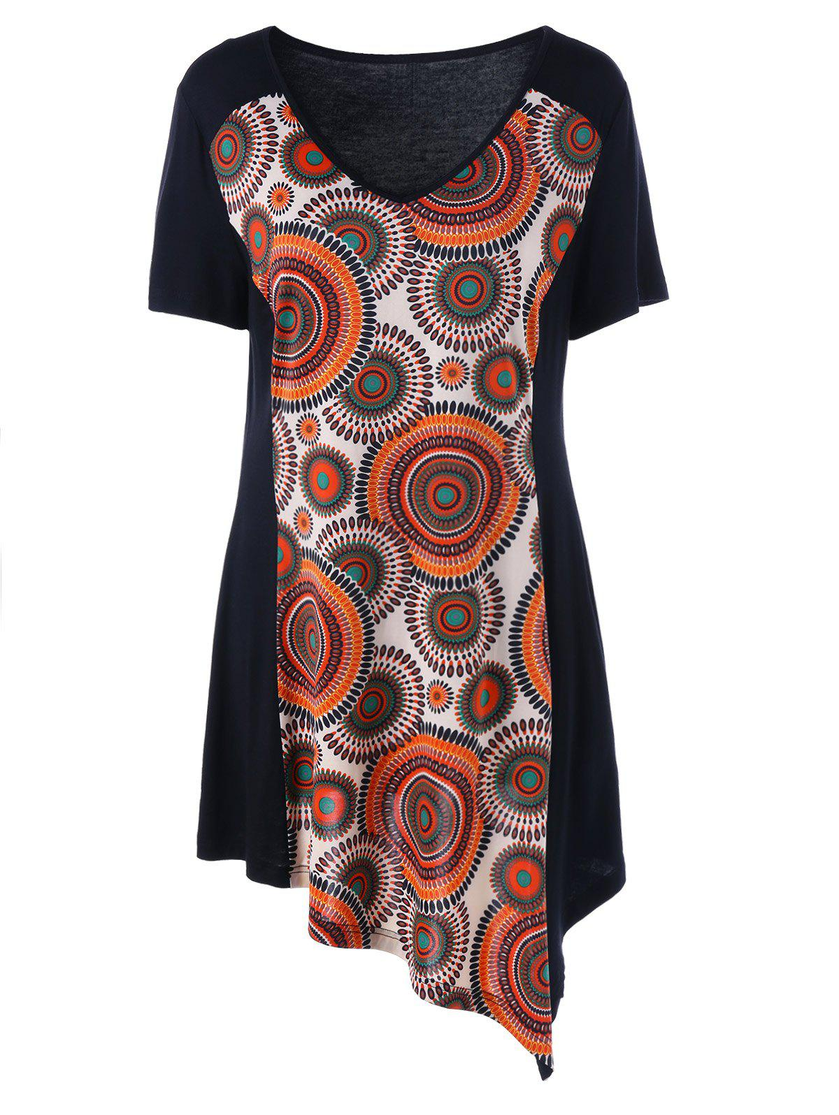 Plus Size V Neck Asymmetirc T-ShirtWOMEN<br><br>Size: 5XL; Color: BLACK; Material: Rayon,Spandex; Shirt Length: Long; Sleeve Length: Short; Collar: V-Neck; Style: Casual; Season: Summer; Pattern Type: Others; Weight: 0.3400kg; Package Contents: 1 x T-Shirt;