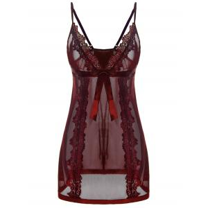 Spaghetti Strap See Through Plus Size Babydoll - Wine Red - 4xl