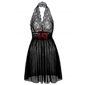 Halter Lace Plus Size Babydoll - Black - 6xl