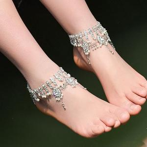 Bohemian Alloy Layered Rhinestone Fringed Anklet