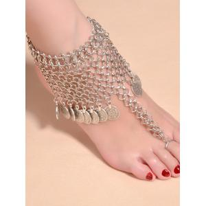 Alloy Mesh Coin Fringed Boho Belly Dance Anklet - Silver