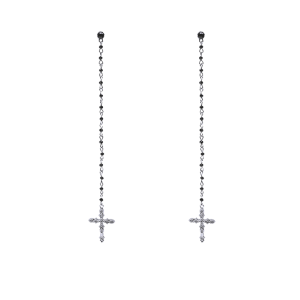 Rhinestone Crucifix Pendant Drop Earrings - Silver - One-size