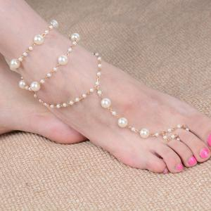 Artificial Pearl Beaded Anklet