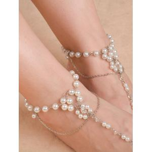 Artificial Pearl Chain Beaded Anklets - Silver - 8