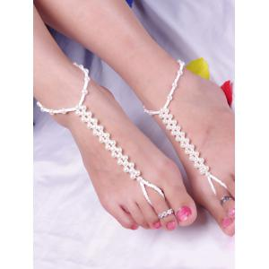 Artificial Pearl Beads Anklet -