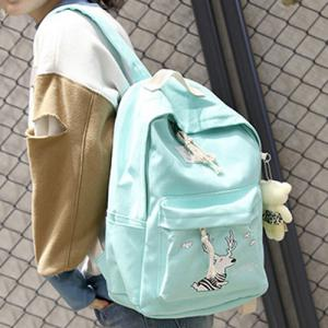 Cartoon Deer Printed Canvas Backpack Set - LIGHT GREEN