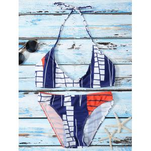 Low Cut Color Block Geometrical Halter Bikini