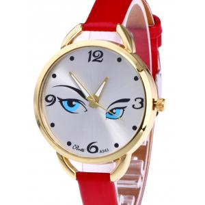 YBOTTI Faux Leather Band Watch with Pretty Glance -