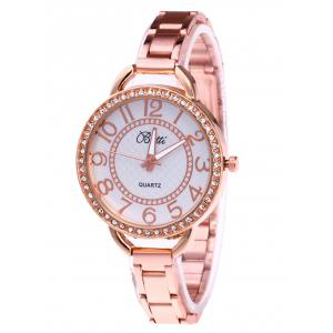 YBOTTI Alloy Band Number Quartz Watch - Rose Gold