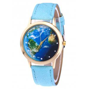 Faux Leather Strap Watch with World Map - Azure
