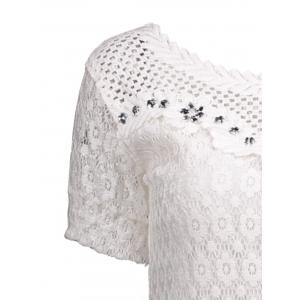 Crochet Floral Lace Rhinestone Embellished Blouse -