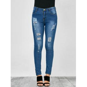 High Rise Distressed Zip Hem Jeans -