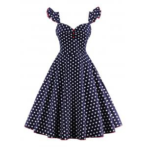 Polka Dot Buttoned Pin Up Rockabilly Swing Dress - Purplish Blue - S