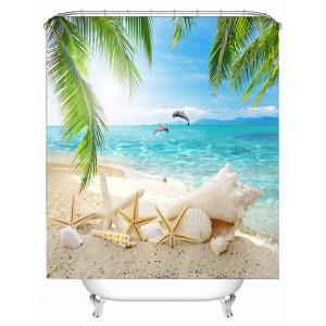 Beach Sights Mildew Resistant Fabric Shower Curtain - LIGHT BLUE 150*180CM