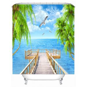 Seascape Printed Bath Decor Polyester Shower Curtain - SKY BLUE 180*180CM