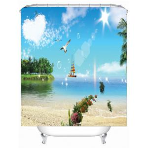 Sea View Printed Waterproof Bathroom Shower Curtain -