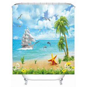 Water Repellent Seascape Shower Curtain with Hooks - SKY BLUE 180*180CM