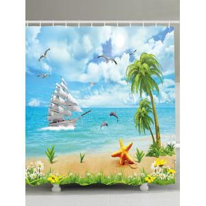 Water Repellent Seascape Shower Curtain with Hooks - Sky Blue - 180*180cm