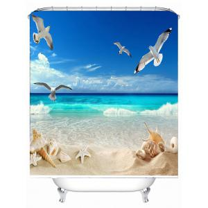 Beach View Print Eco-Friendly Polyester Shower Curtain - BLUE 180*180CM