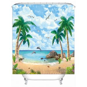 Beach Palm Tree Waterproof Mouldproof Shower Curtain -