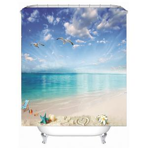 Beach Landscape Water Resistant Fabric Shower Curtain -