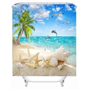 Beach Scenery Eco-Friendly Bathroom Shower Curtain - SKY BLUE 150*180CM